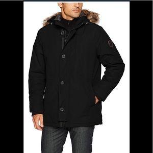HFX Men's Parka Jacket Removable  Faux Fur Hood